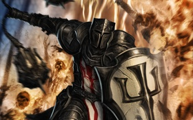 Обои огонь, Crusader, Diablo III, щит, доспех, битва, скелеты