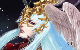 Обои волосы, крылья, девушка, лицо, взгляд