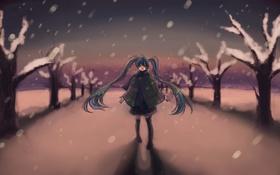 Картинка зима, снег, деревья, вечер, арт, девочка, vocaloid