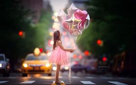 Картинка шары, улица, девочка