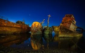 Обои ночь, река, корабли