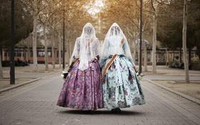 Обои девушки, платье, площадь, фата