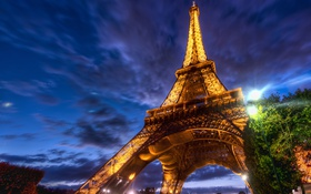 Обои eiffel tower, париж, night, ночь, france, эйфелева башня, paris