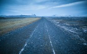 Картинка зима, дорога, облака, туман, холмы, горизонт