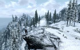 Обои холод, зима, дорога, игра, человек, ели, The Elder Scrolls V Skyrim