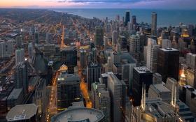 Обои город, вечер, Чикаго, Chicago, Иллиноис, панорамма