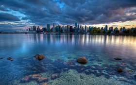 Обои город, дома, небоскребы, вечер, панорамма