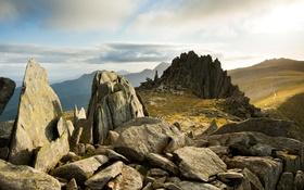 Картинка Сноудония, горы, скалы, Уэльс, камни