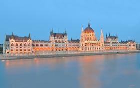 Картинка огни, река, парламент, Венгрия, Будапешт, Дунай