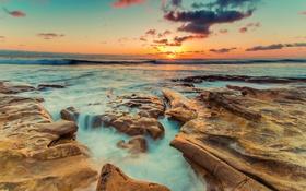 Картинка море, небо, солнце, закат, камни, побережье, горизонт