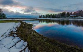 Обои зима, снег, деревья, река, river, trees, winter