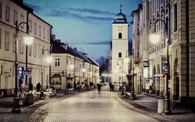 Картинка небо, машины, люди, улица, Польша, сумерки, городской