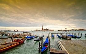 Обои облака, остров, лодки, Италия, церковь, Венеция, канал
