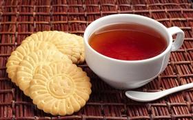 Обои чай, печенье, ложка, чашка, белая