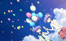 Картинка небо, облака, улыбка, девушки, аниме, арт, воздушные шарики