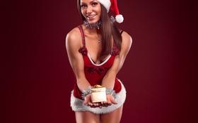 Картинка улыбка, подарок, снегурочка, колпак