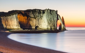 Обои landscape, Normandy, Etretat Cliff by Night