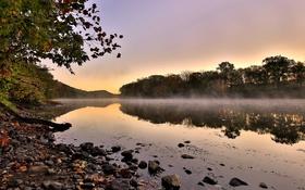 Обои берега, река, вода, утро, испарение