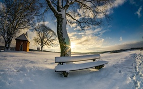 Обои утро, скамья, снег, зима