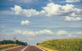 Картинка дорога, небо, трава, облака, трасса
