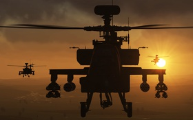 Обои вертолёт, игра, авиасимулятор, «Eagle Dynamics», DCS World, Apache, ударный