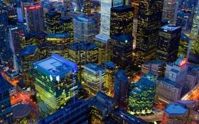 Обои Торонто, Канада, панорама, дома, ночь, Онтарио, огни