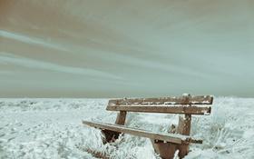 Обои скамья, снег, зима