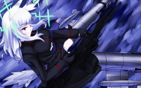 Картинка девушка, полет, оружие, луна, Anime, ушки, хвостик
