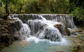Обои лес, тропики, камни, водопад, джунгли, кусты, Kuang Si Falls