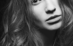 Картинка девушка, волосы, черно-белая, взгляд. лицо