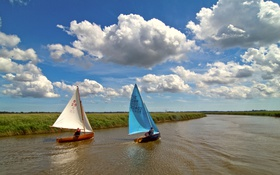 Картинка поле, небо, лодка, канал, парус