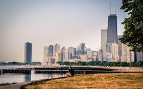 Обои город, река, здания, небоскребы, Чикаго, Мичиган