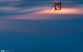 Обои огни, опора, Сан-Франциско, photographer, Kenji Yamamura, в тумане