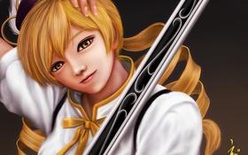 Картинка взгляд, девушка, оружие, art, мушкет, mahou shoujo madoka magica, tomoe mami