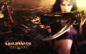 Картинка кинжал, Guild Wars, зеленые глаза., девушка-воин