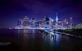 Обои огни, вечер, США, Нью - Йорк