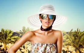 Картинка небо, девушка, отражение, пальмы, побережье, шляпа, платье