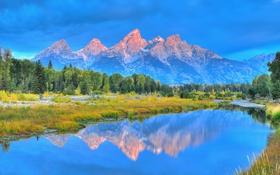 Картинка лес, горы, отражение, озеро, небо