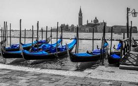 Обои лодка, Италия, церковь, Венеция, собор, канал, гондола