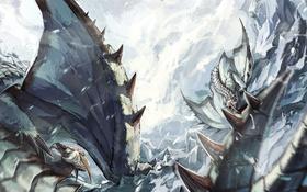 Обои снег, горы, игра, монстр, буря, арт, схватка