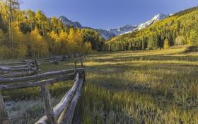 Обои забор, природа, горы, деревья, трава, небо, осень