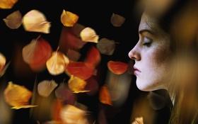 Обои портрет, девушка, листья