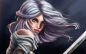 Обои оружие, Cirilla, зеленые глаза, Witcher 3: Wild Hunt, взгляд