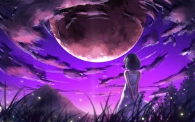 Картинка небо, девушка, облака, горы, природа, светлячки, планета