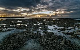 Обои закат, океан, риф, Maldives, Kihaad