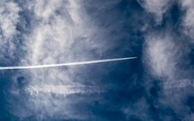 Картинка облака, самолет, Небо