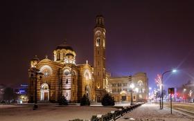 Обои зима, дорога, снег, ночь, огни, улица, фонари