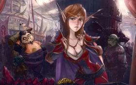 Обои арт, World of warcraft, гоблин, орк, ворген, базар, эльфийка крови