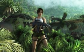 Обои девушка, самолет, шорты, джунгли, автомат, динозавры, Tomb Raider