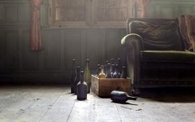 Картинка комната, диван, бутылки